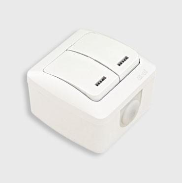 Выключатель 2-клавишный накладной с подсветкой