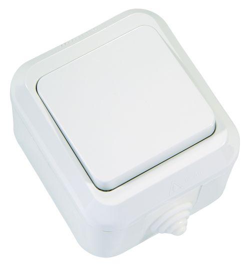 Одноклавишный выключатель IP 44 влагозащитный Makel белый